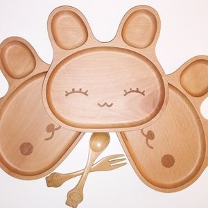 NEW Wooden Plate Set (1 plate,  matching utensils)